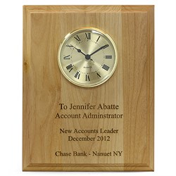 Red Alder Recognition Wall Plaque with Clock