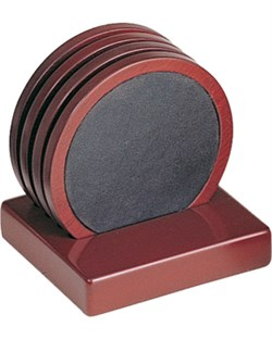 Four Piece Cherry Wood & Leather Coaster Set
