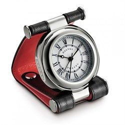 Italian Leather & Stainless Steel Travel Alarm Clock by Dalvey