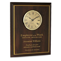 Employee Of The Week Recognition Wall Plaque with Clock