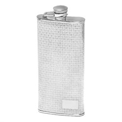 5 Ounce Slim Checker Pattern Engraved Flask