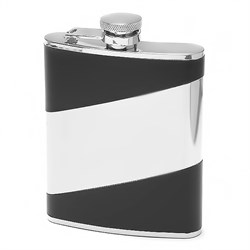 6 oz Leather Flask with Diagonal Engraving Area