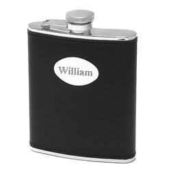 6 ounce Black Leather Engraved Flask