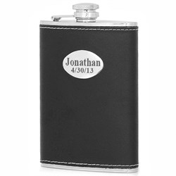 8 Ounce Black Leather Engravable Flask