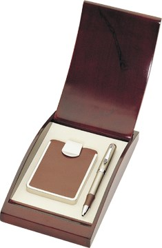 Leather Business Card Case with Ballpoint Pen Gift Set - Free Personalization
