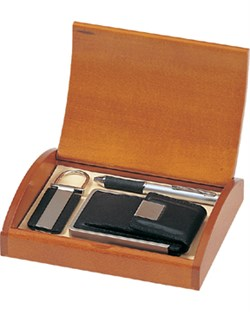 Leather Business Card Case, Keychain & Ballpoint Pen Gift Set