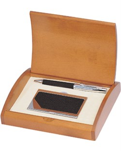 Executive Leather Pen and Business Card Case Gift Set