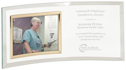 Personalized Jade Glass Crescent With Horizontal Photo Frame