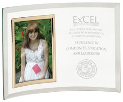 Personalized Jade Glass Crescent With Vertical Photo Frame