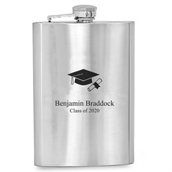 Cap & Gown Personalized Graduates Flask