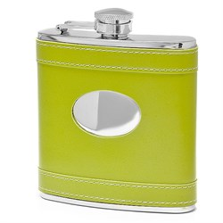 6 Ounce Green Leather Engravable Flask