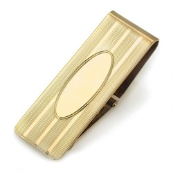 14 Karat Gold Money Clip with Oval Engraving Shield