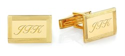 Framed Border 14 Karat Gold Engravable Cufflinks