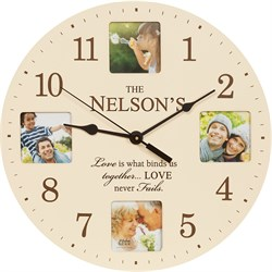 Love Never Fails Personalized Photo Wall Clock