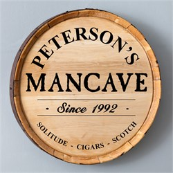 Man Cave Personalized Whiskey Barrel Sign