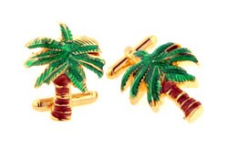 Palm Tree Enamel Coated Gold Plated Cufflinks