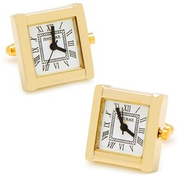 Gold Plated Square Working Watch Cufflinks