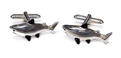 Hand Painted Enamel & Sterling Silver Shark Cufflinks