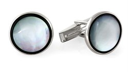 Full Moon Onyx & Mother of Pearl Sterling Silver Cufflinks