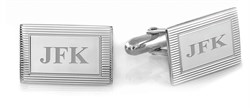 Sterling Silver Frame Collection Engravable Cufflinks