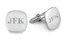 Sterling Silver Cushion Collection Engravable Cufflinks