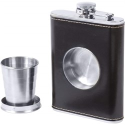 7 Ounce Leather Flask With Built In Shot Cup