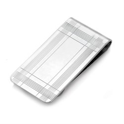 Sterling Silver Wide Width Border Collection Folded Grip Money Clip