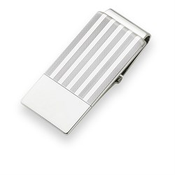 Sterling Silver Pinstripe Engravable Money Clip with Hinged Grip