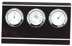 Rosewood & Aluminum Personalized Weather Station & Clock