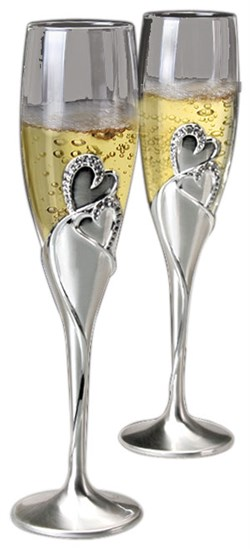 Hearts Wedding Toast Flutes - Set Of Two