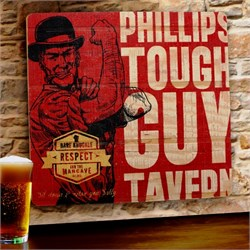 Tough Guy Tavern Wooden Bar Sign - Free Personalization