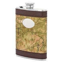 8 Ounce Map Of The World Flask