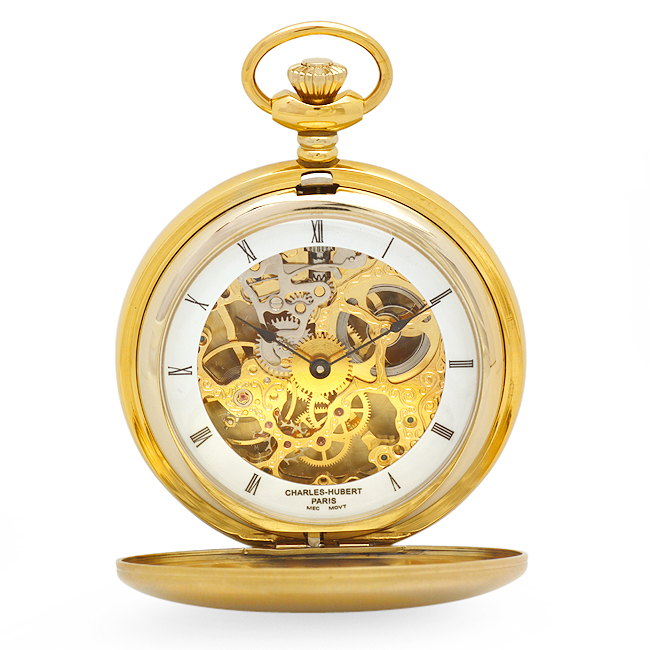Gold Plated Mechanical Movement Pocket Watch & Chain with Double Dust Cover