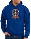 Funky 70s Peace World Peace Sign Symbol Adult Pullover Hooded Sweatshirt Hoodie - Royal