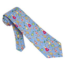 1, 2, 3, Floor Blue Silk Tie Necktie? Men?s Food Drink Neck Tie