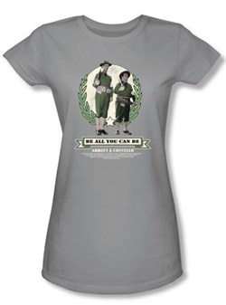 Image of Abbott & Costello Juniors Shirt Be All You Can Be Silver Tee T-shirt