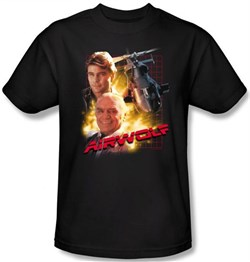 Image of Airwolf Kids T-shirt Airwolf Collage Youth Black Tee Shirt