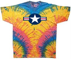 Image of Air Force Shirt Star Aircraft Insignia Woodstock Tie Dye Tee T-shirt
