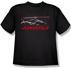 Image of Airwolf Grid Kids Shirt Black Youth Tee T-Shirt
