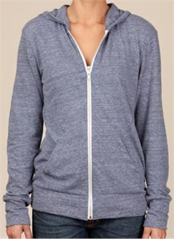 Image of Alternative Apparel Full Zip Hoodie Sweatshirt Eco Navy Heather Hoody