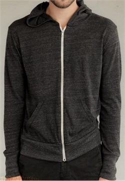 Image of Alternative Apparel Eco-Heather Zip Hoodie Sweatshirt - Eco Black