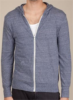 Image of Alternative Apparel Eco-Heather Zip Hoodie Sweatshirt - Eco Navy