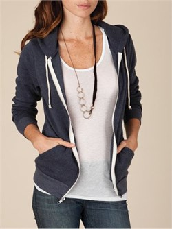 Image of Alternative Apparel Ladies Full Zip Hoodie Rocky Eco True Navy Hoody