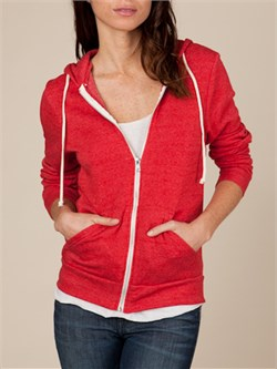 Image of Alternative Apparel Ladies Full Zip Hoodie Rocky Eco True Red Hoody