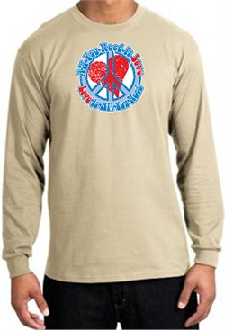 Peace Sign T-shirt All You Need Is Love Long Sleeve Tee Sand