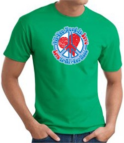 Peace Sign T-shirt - All You Need Is Love Adult Tee - Kelly Green
