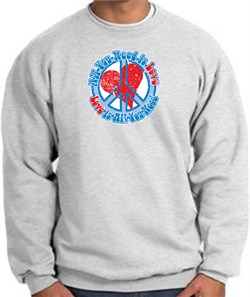 Peace Sign Sweatshirt - All You Need Is Love Heart - Ash