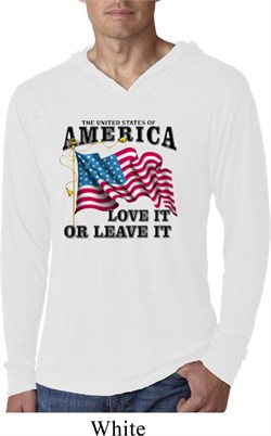 America Love It or Leave It White Lightweight Hoodie Shirt