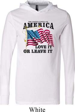 America Love It or Leave It White Lightweight Hoodie Tee