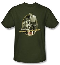 Image of Andy Griffith Show Kids Shirt Gone Fishing Youth Army Green T-shirt
